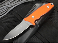 Нож с фиксированным клинком HB Fixed, Orange G-10 Handle, Stonewashed Crucible CPM® S35VN™, William (Bill) Harsey Design (Black Leather Sheath) 9.0 см.